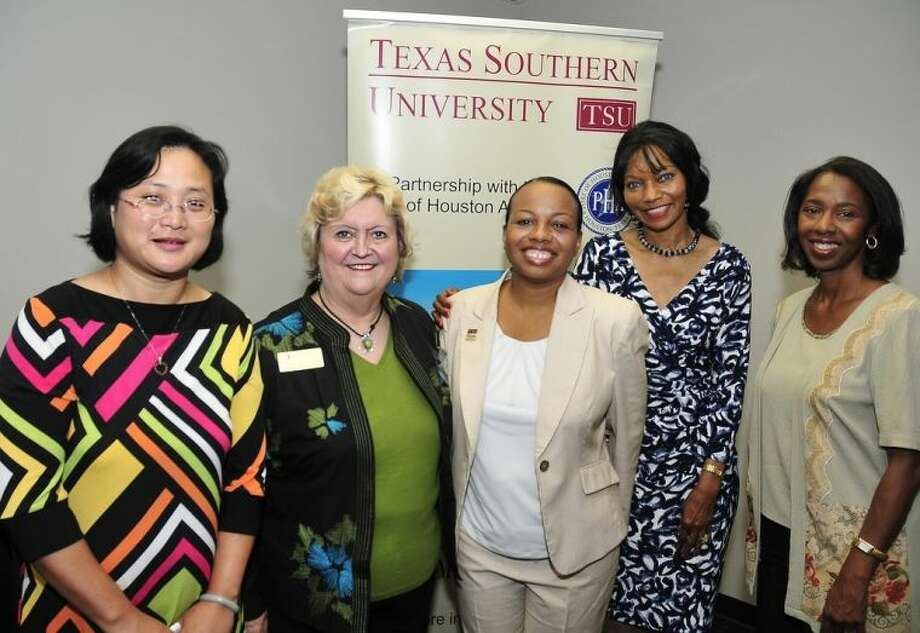Dr. Sarah Janes, vice president of Continuing and Professional Development (CPD) at San Jacinto College, was recently presented with the Paul Cuffee Maritime Leadership Award during a Summer Maritime Transportation Academy ceremony at Texas Southern University (TSU). Pictured from left to right: Dr. Yi Qi, department chair of transportation studies at TSU; Dr. Sarah Janes, vice president of CPD at San Jacinto College; Ursurla Williams, maritime program coordinator at TSU; Dr. Johnella Bradford, dean of workforce development at Houston Community College Southeast; and Dr. Carol Lewis, executive director of the TSU Center for Transportation Training and Research. Photo credit: Jeannie Peng-Armao, San Jacinto College marketing, public relations, and government affairs department.