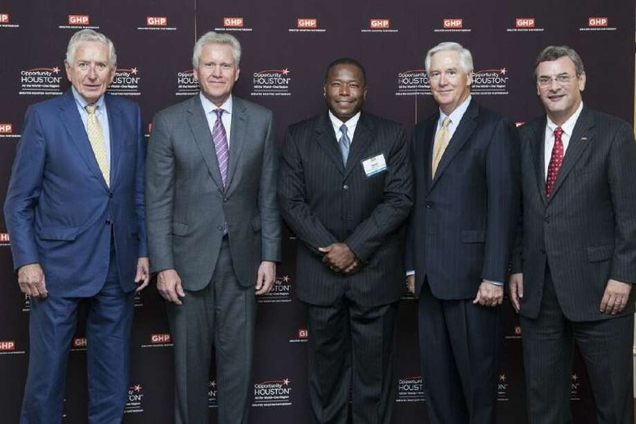 Pictured, left to right, are Drayton McLane, Jr., chairman of the Opportunity Houston 2.0; Jeff Immelt, President and CEO of GE; Darryl Wilson, Vice President and Chief Commercial Officer of GE; David McClanahan, Chairman, Greater Houston Partnership and Bob Harvey, President and CEO, Greater Houston Partnership.