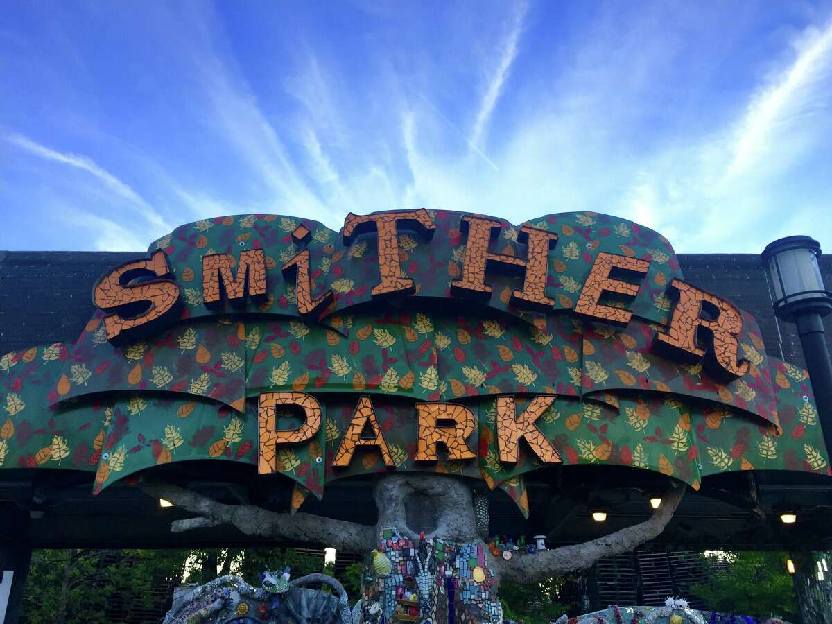 """On Friday, Sept. 30, 2016, the Orange Show Center for Visionary Art debuts its new folk art park, Smither Park, over at its funky compound near the University of Houston at the edge of the East End and Third Ward. The Orange Show is describing the park as a """"creative urban space."""" Artist and builder Dan Phillips collaborated with Stephanie Smither to design the park to honor the memory of her late husband, John H. Smither."""