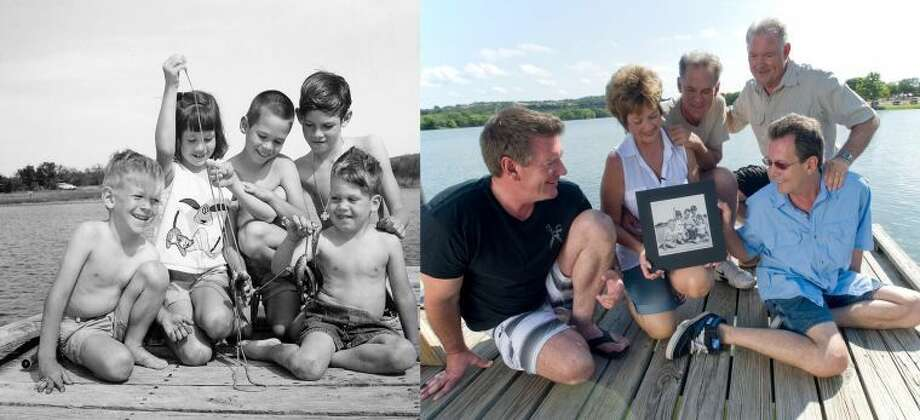 Fifty years of loving Inks Lake State Park: the Clevlen family in 1963 and 50 years later at the same spot. Photo: Chase A. Fountain, © Texas Parks And Wildlife Department