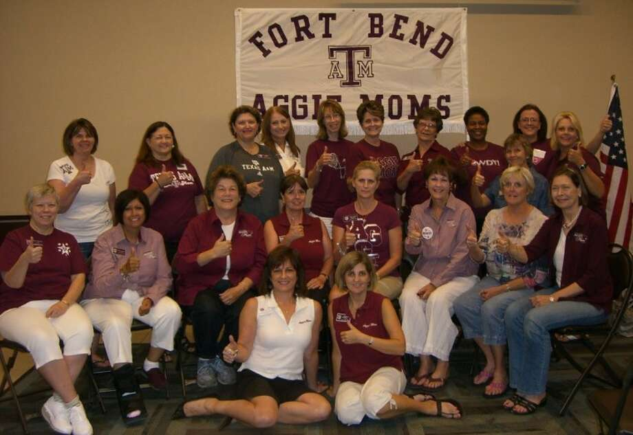 Fort Bend Aggie Moms include, back row from left, Mary Doos, Denise Burger-Garton, Maureen Sanders Lea Murphee, Jan McHenry, Donna Kent, Judy Russell, Theresa Gibson, Charla Zerbe, Linda Casy, Anne Pencak, middle row from left, Elisa LeDoux, Jan Myers, Sally Berlocher, Krista Smith, Mary Beth Morris, Barbara Nachlas, Debbie Cortez, Sharon Jamison, front row from left, Suzette Peoples and President Stephanie Rammrath.