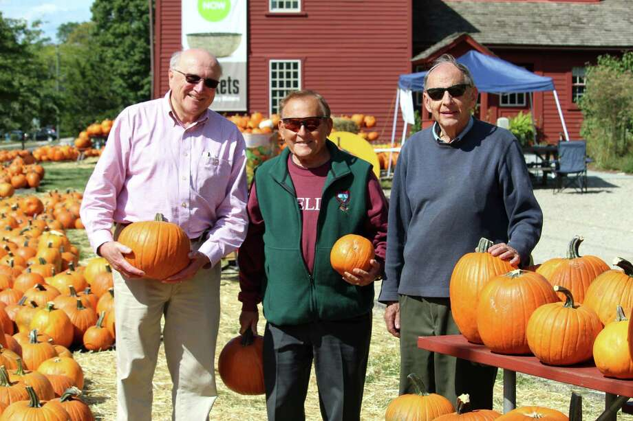 Members of the Wilton Kiwanis Club (from left to right): Rudi Hoefling, Ray Moskow and Don Drummond. The club's second annual pumpkin sale is at Wilton Historical Society, 224 Danbury Road. Photo: Stephanie Kim / Hearst Connecticut Media