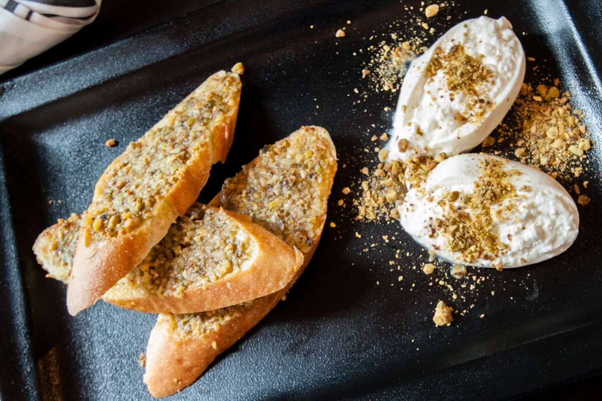Burrata and pistachio toast at The General Public
