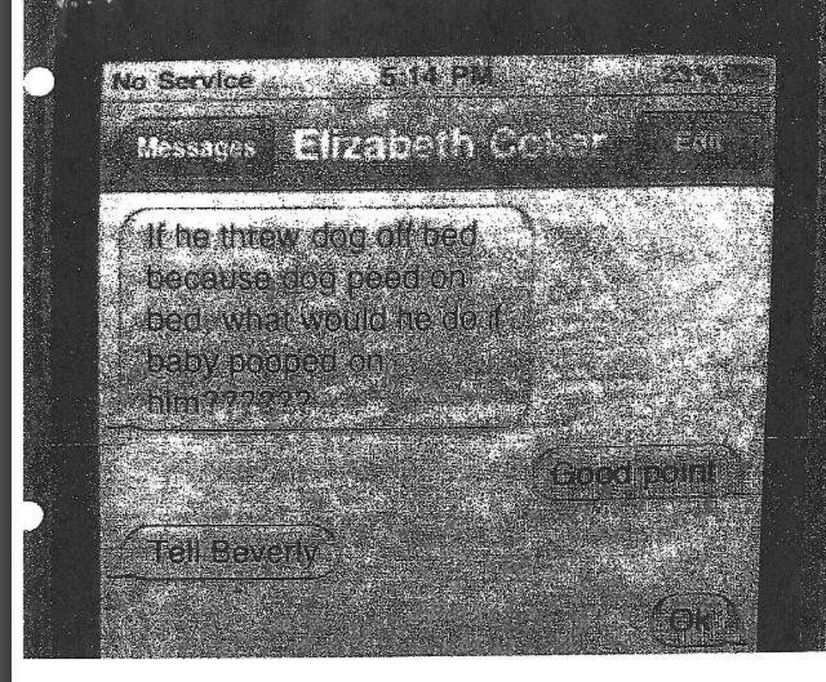 This image shows an alleged text exchange between 258th District Court Judge Elizabeth Coker and 411th District Court Judge Kaycee Jones during a criminal trial in Polk County. At the time, Jones was a prosecutor working for the Polk County District Attorney's Office.