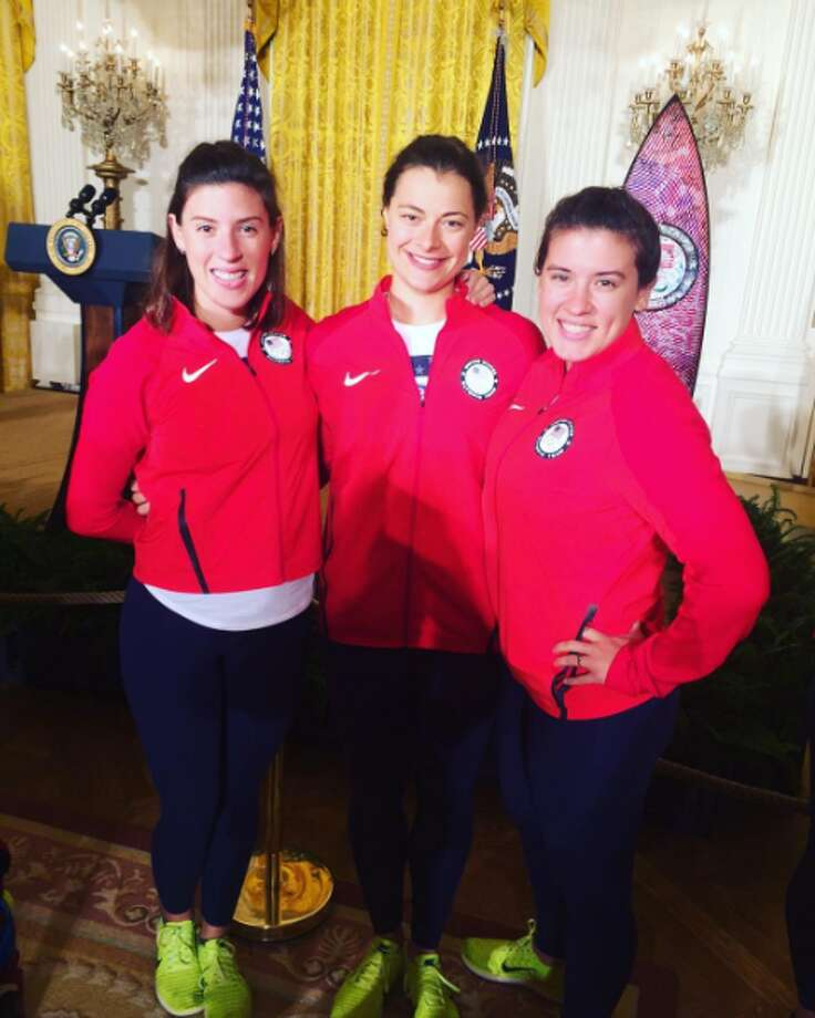 San Antonio natives and Olympic fencers Courtney Hurley and Kelley Hurley prepare to meet President Barack Obama at the White House. Photo: Instagram/thathurleygurrl