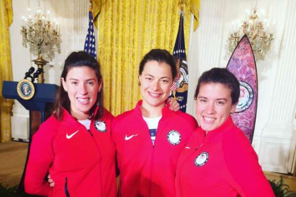 San Antonio natives and Olympic fencers Courtney Hurley and Kelley Hurley prepare to meet President Barack Obama at the White House.