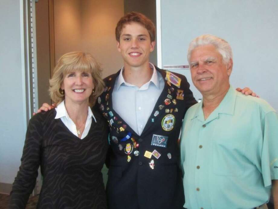 Carol and Terry Lester and last year's exchange student Felipe from Brazil.