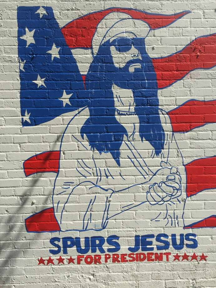 Instagram will soon be blessed with San Antonio's latest piece of photo opportunity art, a mural of — and by — Spurs Jesus, on the exterior wall of Tito's Mexican Restaurant. Photo: Michael Quintanilla