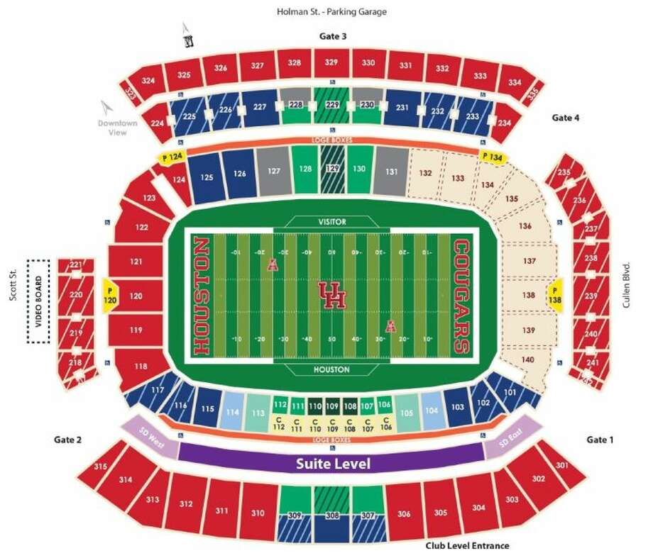 The stadium seating diagram for the University of Houston's new football stadium, which will be ready for the 2014 season. Photo: University Of Houston