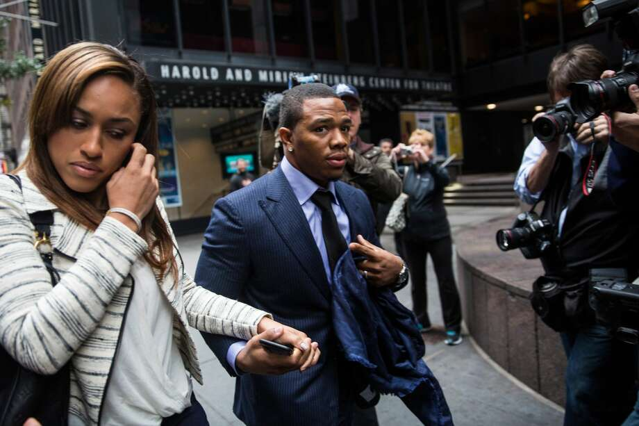 NEW YORK, NY - NOVEMBER 05: Suspended Baltimore Ravens football player Ray Rice (R) and his wife Janay Palmer arrive for a hearing on November 5, 2014 in New York City. Rice is fighting his suspension after being caught beating his wife in an Atlantic City casino elevator in February 2014. (Photo by Andrew Burton/Getty Images) Photo: Andrew Burton/Getty Images