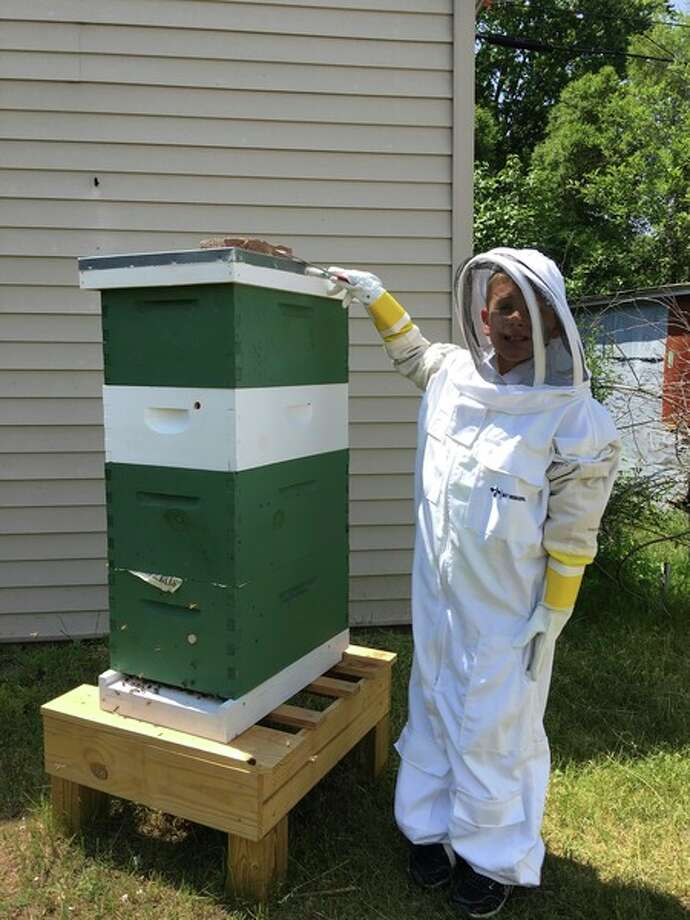 Photo provided The Italian honeybees that Jackson Moyer and his dad handle are much gentler; Jackson has not been stung by his bees.