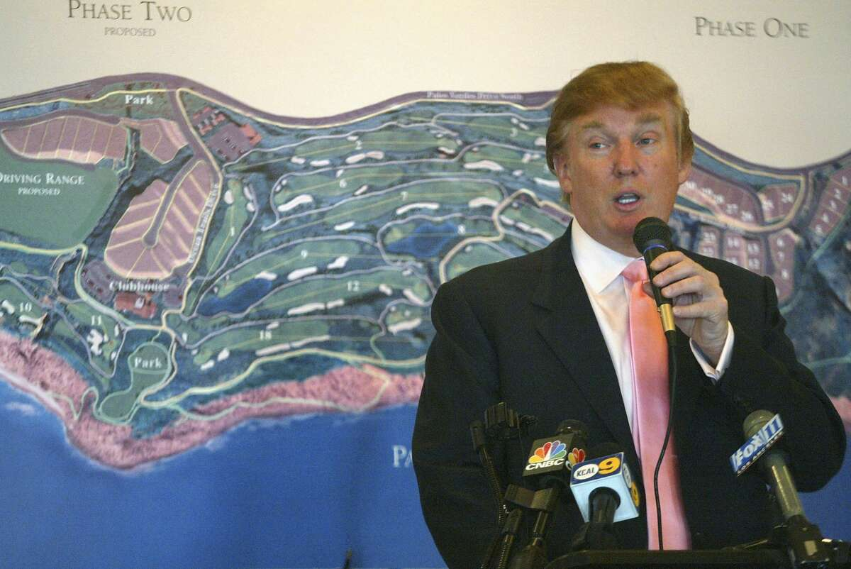 Businessman Donald Trump speaks at the groundbreaking of The Trump National Golf Club on January 14, 2005 in Rancho Palos Verdes, California. The golf course is part of a development which offers homes starting at $6 Million.