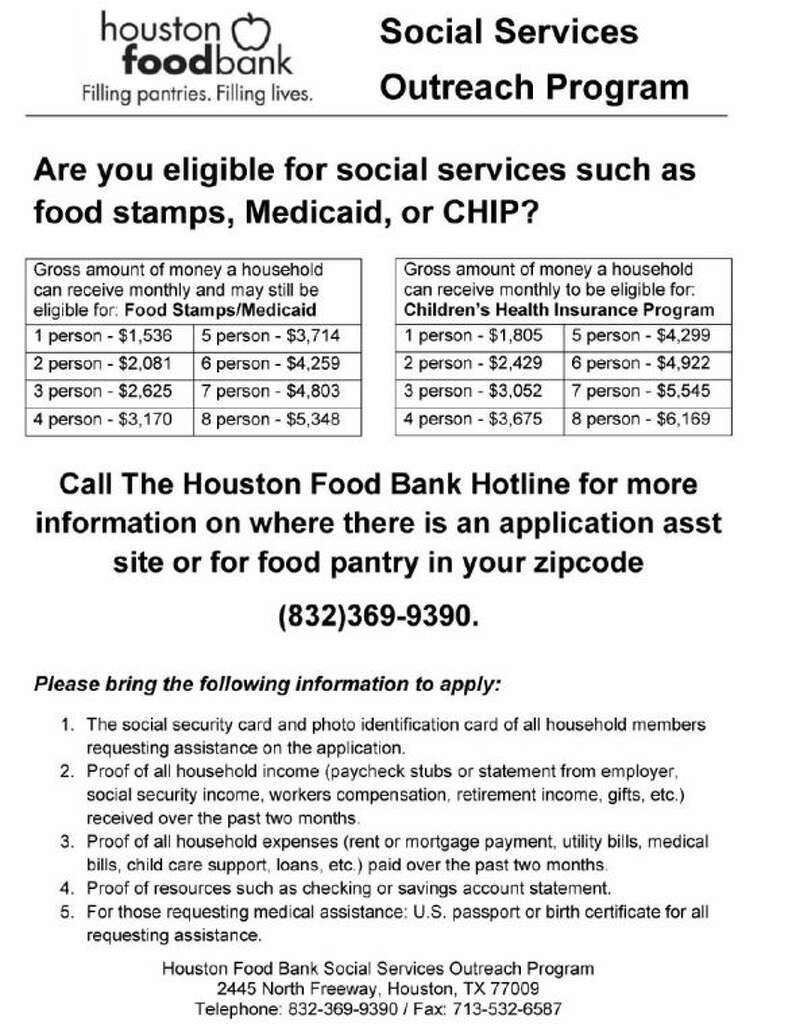 The Houston Food Bank Provides An Outreach Program To Assist People With  Pleting Applications For Food