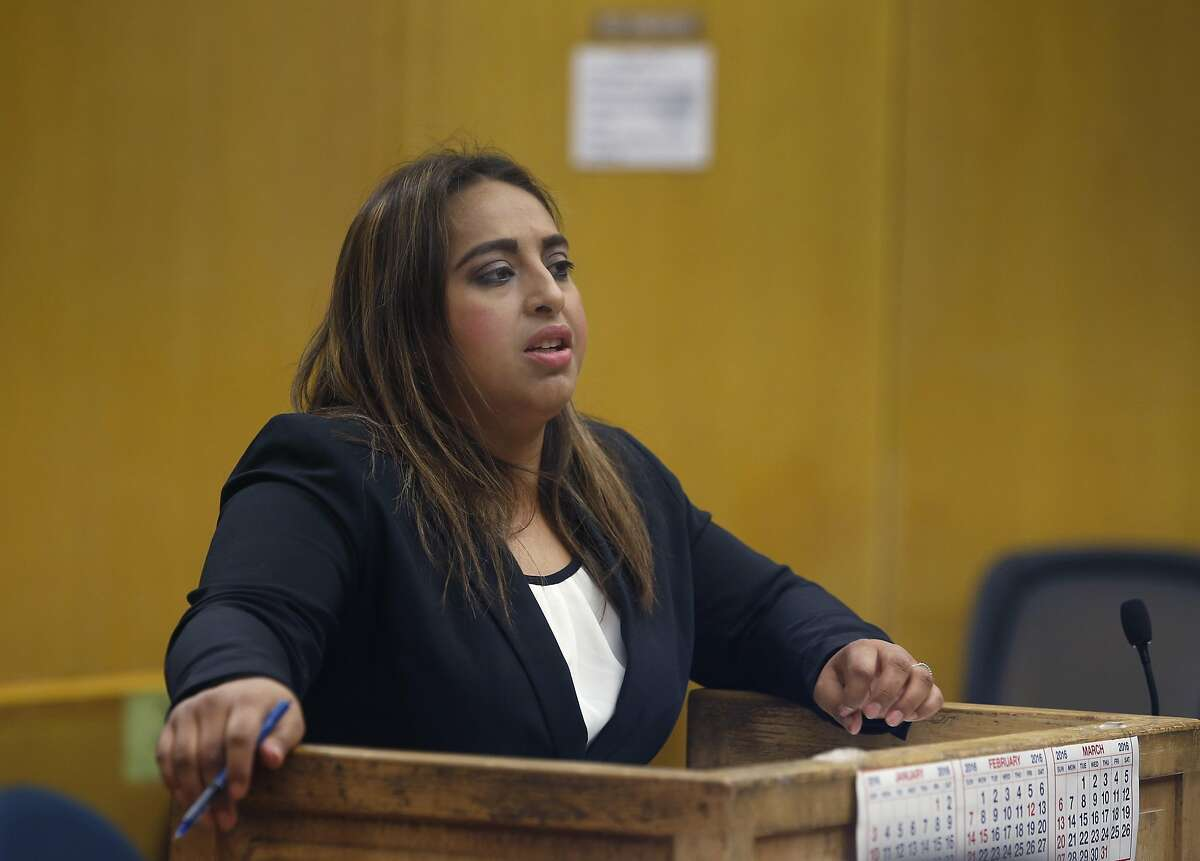 Attorney Elizabeth Camacho appears before Judge Lucy McCabe to represent clients for the Public Defender's office in San Francisco, Calif. on Thursday, Sept. 29, 2016. Camacho immigrated to the United States from Mexico with her family when she was 10 and just recently became a U.S. citizen in time to vote in this year's election.