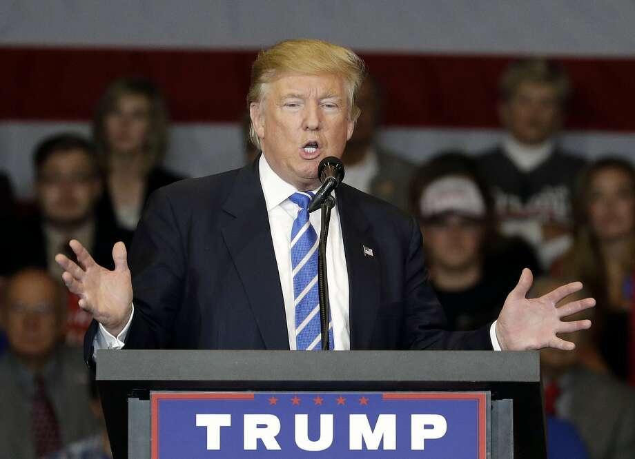 Republican presidential candidate Donald Trump speaks at a rally, Wednesday, Sept. 28, 2016, in Waukesha, Wis. (AP Photo/John Locher) Photo: John Locher, Associated Press