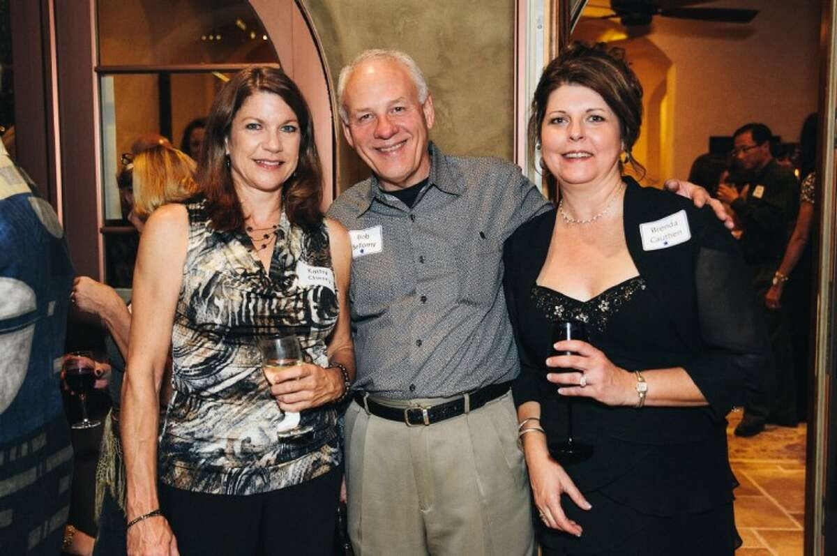 From left, sponsor Tradition Bank's director of community affairs and PATRONS board member Kathy Cherry, Houston Community College Foundation board chairman Bob Bellomy with Hermes Architecture and host, co-chair and PATRONS treasurer Brenda Cauthen enjoy the 5th annual Wine and Tapas Gala raising money for Bellaire parks.