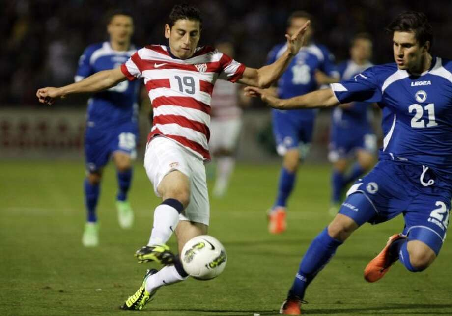 The United States' Alejandro Bedoya challenges Bosnia's Ervin Zukanovic during a friendly on Wednesday in Sarajevo, Bosnia.