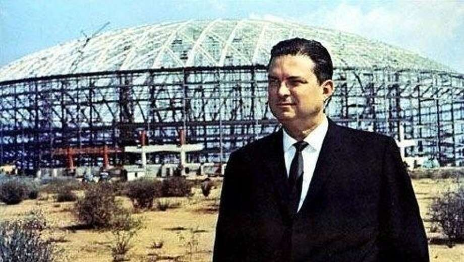Judge Roy Hofheinz outside his pet project, dubbed the Eighth Wonder of the World in its infancy.