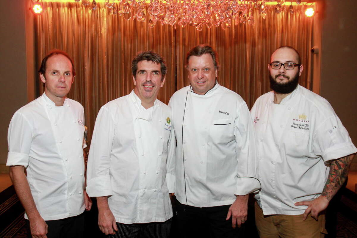 Chefs Luis Roger, from left, Philippe Verpiand, Mark Cox and Larry De La Flor at the Best Cellars Wine dinner. (For the Chronicle/Gary Fountain, September 28, 2016)
