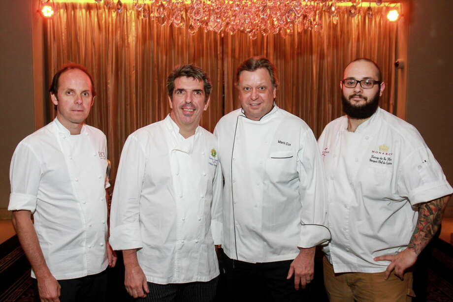 Chefs Luis Roger, from left, Philippe Verpiand, Mark Cox and Larry De La Flor at the Best Cellars Wine dinner.  (For the Chronicle/Gary Fountain, September 28, 2016) Photo: Gary Fountain, Gary Fountain/For The Chronicle / Copyright 2016 Gary Fountain
