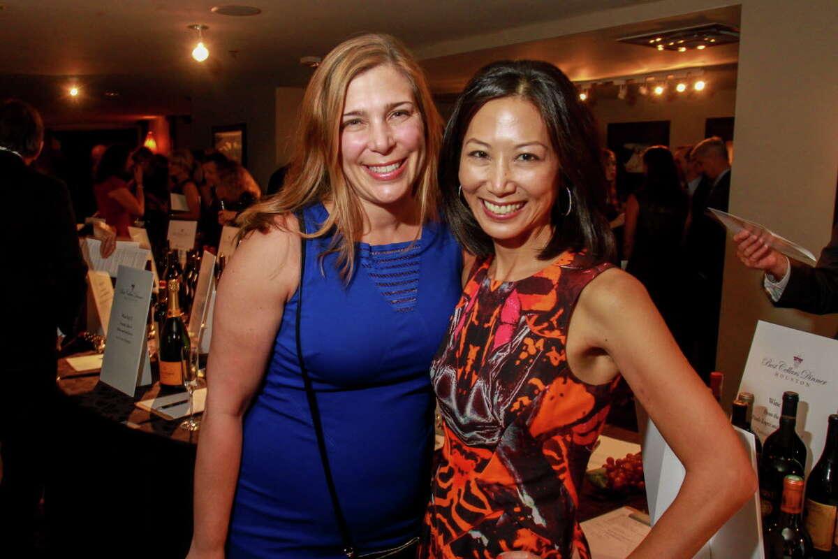 Damla Karsan, left, and Karen Wong at the Best Cellars Wine dinner. (For the Chronicle/Gary Fountain, September 28, 2016)