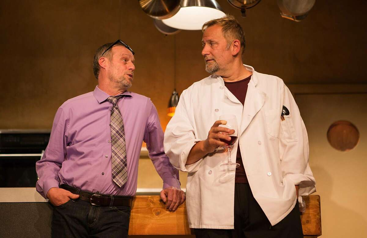 """Mike (Rod Gnapp) and Harry (Brian Dykstra) unwind after a dinner rush at the restaurant in SF Playhouse's """"Seared."""""""