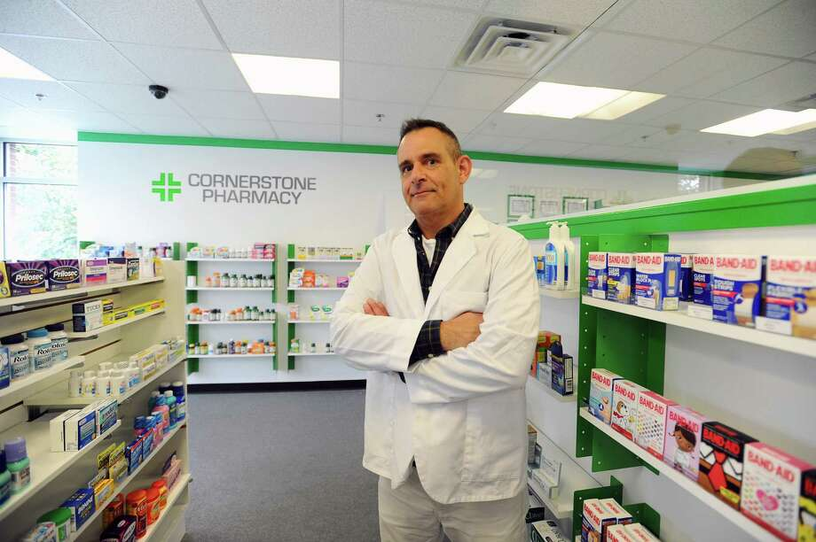 Cornerstone Pharmacy owner and pharmacy manager John Ciuffo says the hospital is good for business. Photo: Michael Cummo / Hearst Connecticut Media / Stamford Advocate