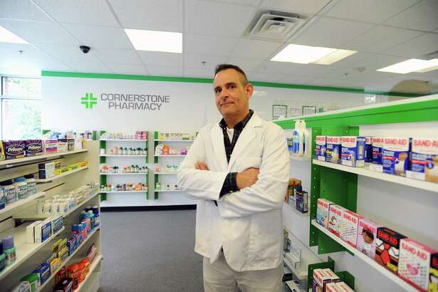 Cornerstone Pharmacy owner/ pharmacy manager John Ciuffo says the hospital is good for business. Photographed inside his pharmacy on Stillwater Ave. in Stamford, Conn. on Thursday, Sept. 29, 2016.