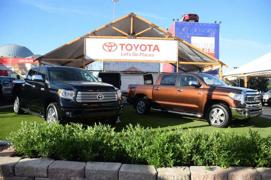 A pair of Toyota Tundra pickups on display at the 2016 State Fair of Texas in Dallas. Toyota started off 2017 with selling 6,628 Tundras, down 8.4 percent compared to January 2016. Photo: Rye Druzin /San Antonio Express-News / San Antonio Express-News
