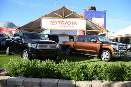 A pair of Toyota Tundra pickups on display at the 2016 State Fair of Texas in Dallas. Toyota started off 2017 with selling 6,628 Tundras, down 8.4 percent compared to January 2016.