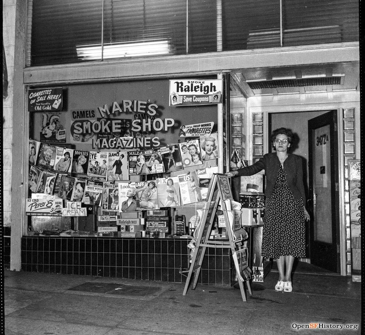 3472 Mission Street 1950, Marie's Smoke Shop Exterior, magazines in window. San Francisco's Bernal Heights district. Courtesy of OpenSFHistory.org.