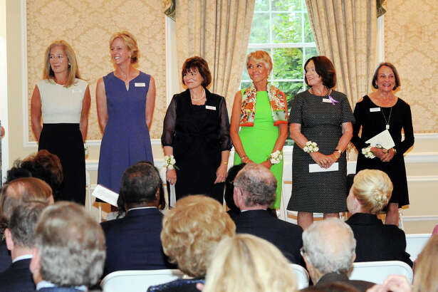 Honorees, left to right, Nancy Better, Michelle Binnie, Mary Jacobson, Dee Mayberry, Anne Noonan and Suzanne Prunier during the YWCA 2016 Spirit of Greenwich Awards ceremony at the Greenwich Country Club, Greenwich, Conn., Wednesday, Sept. 28, 2016. The Spirit Award honors women who exemplify volunteerism and philanthropy in the Greenwich community. Twelve outstanding women were honored during the event. More than 150 local women have been honored since the inception of the awards in 1994.