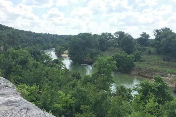 Many of the trails at Guadalupe River State park provide for scenic and breathtaking overlooks. This bluff provides a view of the Guadalupe River and its spectacular expanse along the Texas Hill Country.