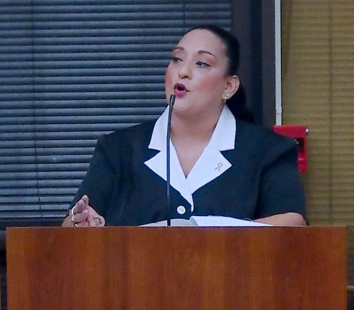 Patricia Gonzales was one of many publc speakers voicing displeasure with a proposal that would bring back to Pasadena two at-large council districts. Council approved it 5-4.