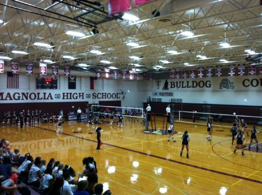 The main gym at Magnolia HS hosted two games simultaneously over each of the last three days during the 2013 Magnolia Volley-Battle.