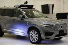 This is a self driving Volvo Uber on display at the companies' Advanced Technologies Center in Pittsburgh on display for journalists during a media preview Monday, Sept. 12, 2016. (AP Photo/Gene J. Puskar)
