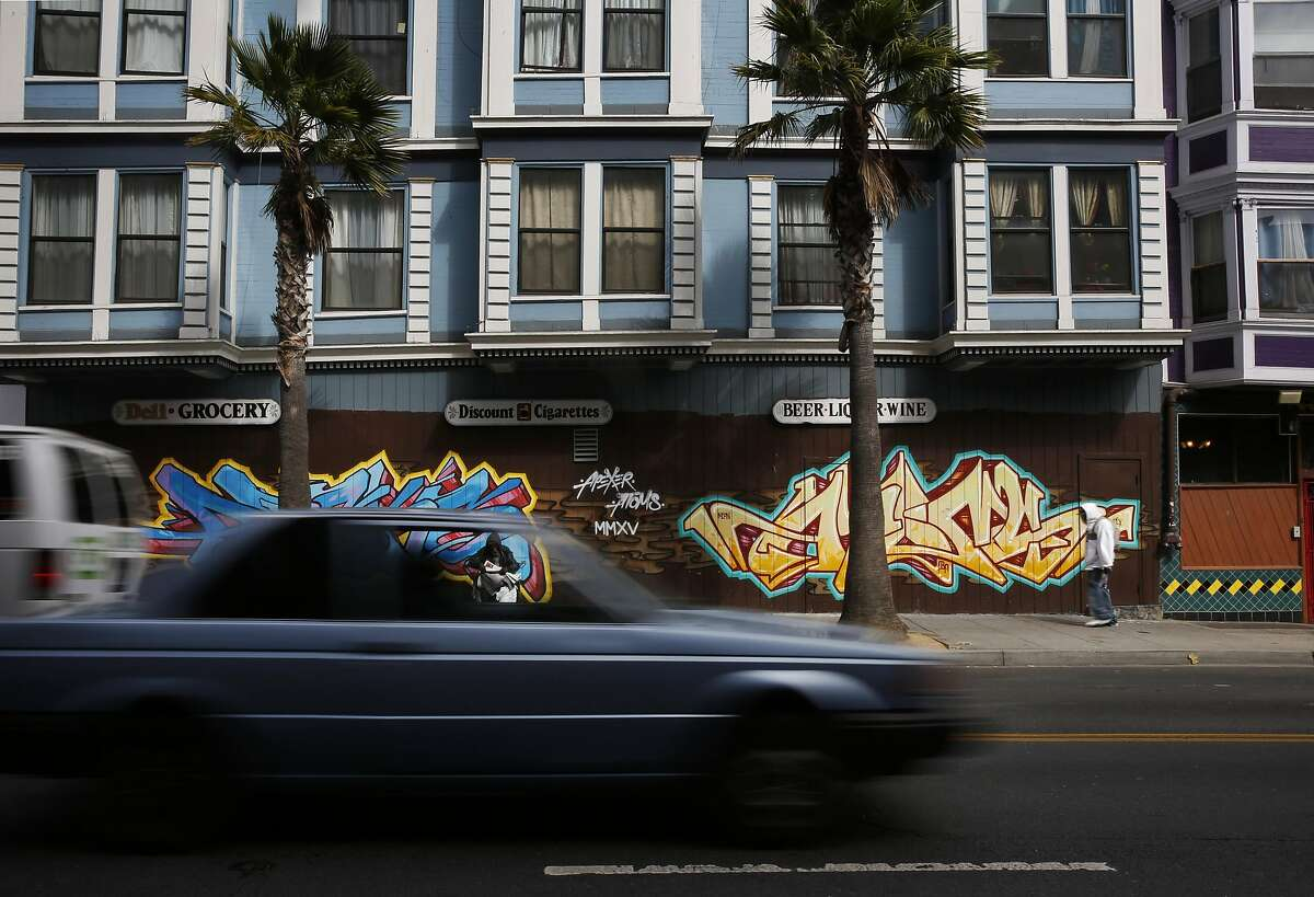 Cars zip up and down 6th street Sept. 29, 2016 in San Francisco, Calif. SFPD along with SFMTA and Vision Zero announced a renewed effort to catch city speeders by the SFPD.