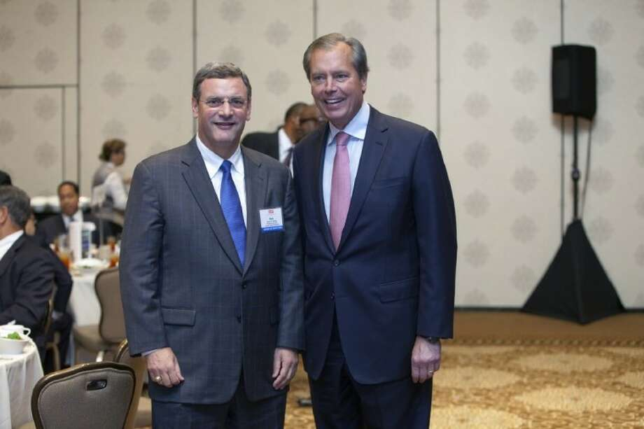 Bob Harvey, left, president and CEO of the Greater Houston Partnership, with Lt. Gov. David Dewhurst at GHP's annual State of Transportation luncheon last week.