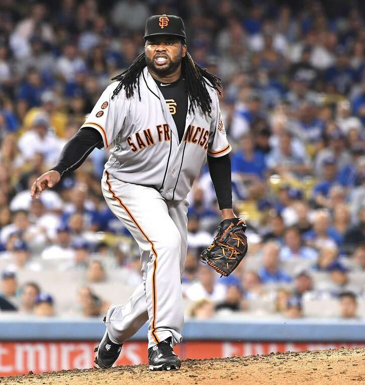 San Francisco Giants pitcher Johnny Cueto grimaces in pain after a pitch against the Los Angeles Dodgers in the sixth inning at Dodger Stadium in Los Angeles on Tuesday, Sept. 20, 2016. Cueto had to leave the game. (Wally Skalij/Los Angeles Times/TNS)