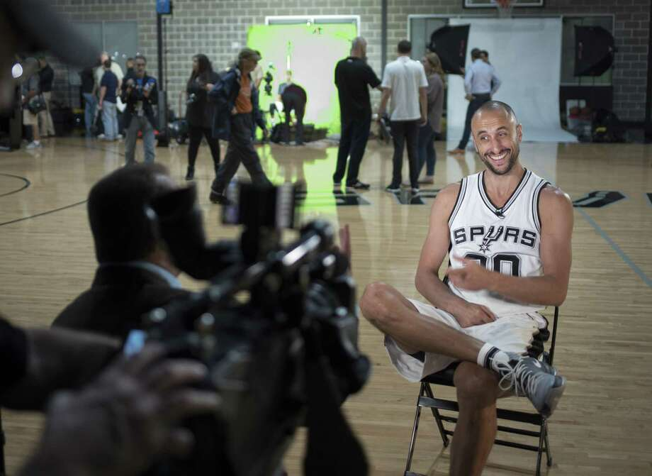 Spurs' Manu Ginobili is interviewed during media day on Sept. 26, 2016, at the team practice facility in San Antonio. Photo: Darren Abate /For The Express-News / San Antonio Express-News