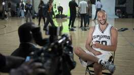 Manu Ginobili is interviewed during Spurs media day on Sept. 26, 2016, at thepractice facility in San Antonio.