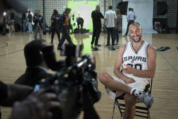 Manu Ginobili is interviewed during Spurs media day on Sept. 26, 2016, at the practice facility in San Antonio.