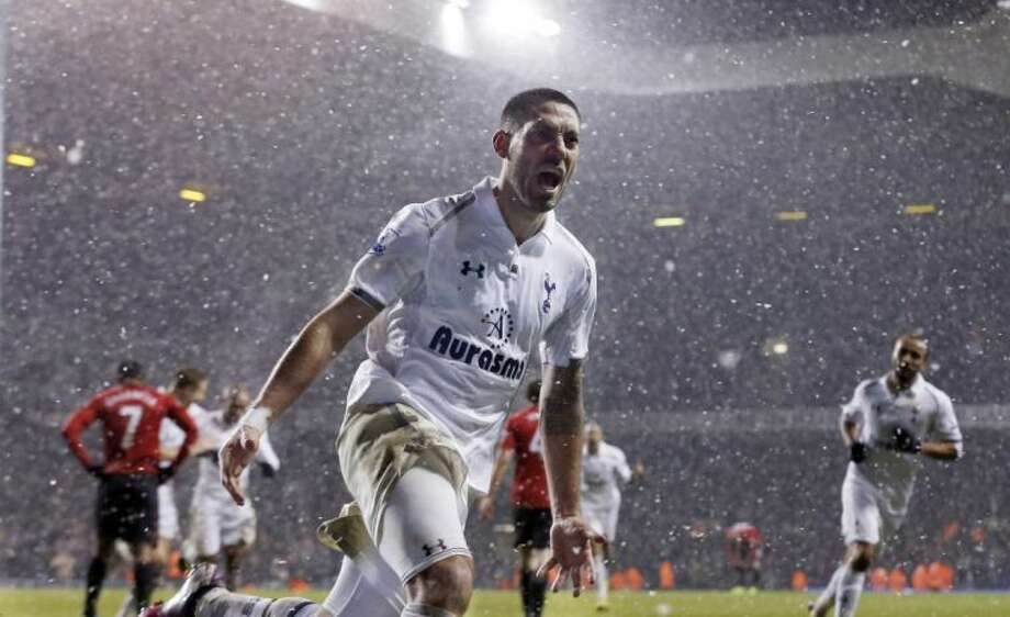Tottenham's Clint Dempsey celebrates after scoring a goal against Manchester United during an English Premier League match on Jan. 20 at White Hart Lane in London.