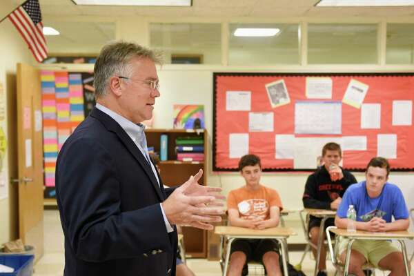 U.S. House of Representatives candidate John Shaban speaks to the Young Republicans at Greenwich High School on Thursday.