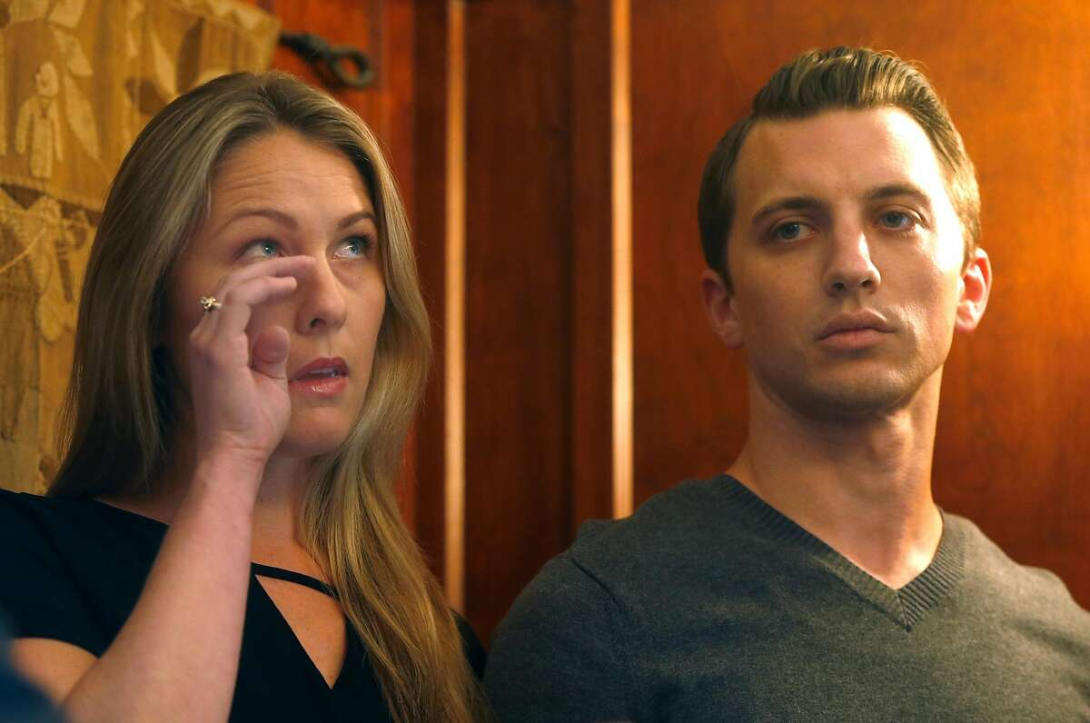 Denise Huskins and Aaron Quinn appear at a news conference with attorney Doug Rappaport in San Francisco, Calif. on Thursday, Sept. 29, 2016. Huskins and Quinn were victims in the bizarre Vallejo kidnapping case in March 2015. Matthew Muller has pleaded guilty to kidnapping the couple.
