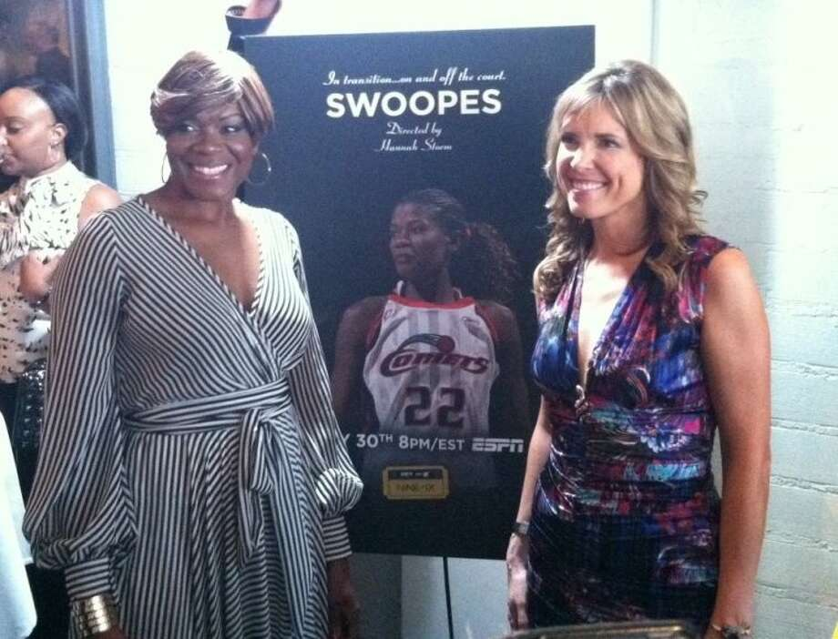 "Sheryl Swoops (left) and Director Hannah Storm (right) smile for the cameras at a special Houston screening of the ESPN film ""Swoopes"", Wednesday night in River Oaks. Photo: David Fanucchi"