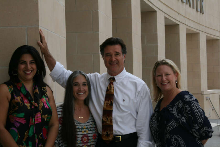 (Left to Right): Kavita Self, Cowboy Up Co-Chair; Theo Healey and Fort Bend County District Attorney John Healey; Shannon Bloesch, Parks Youth Ranch Executive Director