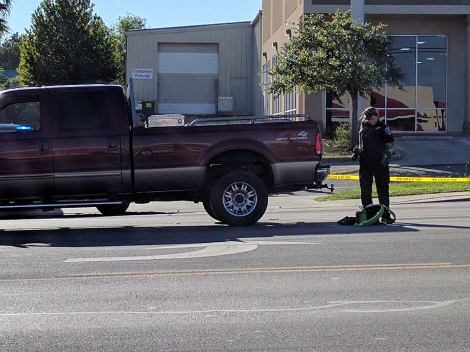 A woman was crossing the road in the 6900 block of San Pedro Ave., when she was struck in the middle lane Thursday, Sept. 29, 2016. Photo: Jacob Beltran