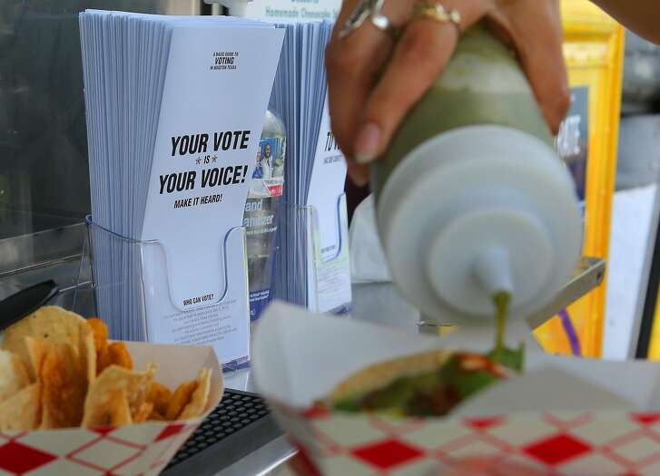 The Tila's Tacos truck on University Street near the Rice University campus joined forces with several other taco trucks encouraging voter registration at their establishments as part of national voter registration day, Tuesday, Sept. 27, 2016, in Houston. ( Mark Mulligan / Houston Chronicle )