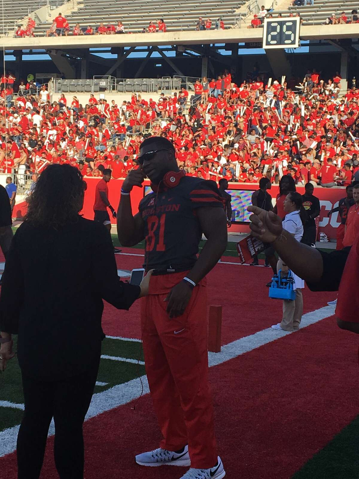 Starting linebacker Tyus Bowser missed UH's game Thursday against Connecticut with a head injury.